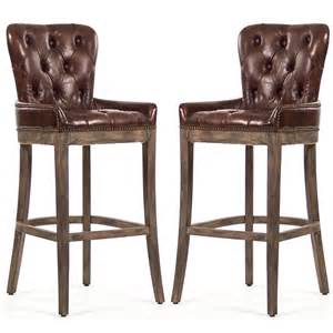 Bassett Upholstery Tufted Leather Bar Stools Rustic Retreat