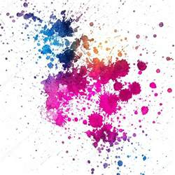 color splatter colorful paint splatter on white background stock photo