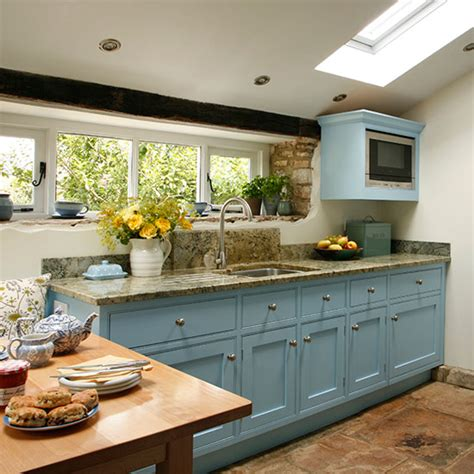 be inspired by this blue country kitchen makeover ideal home