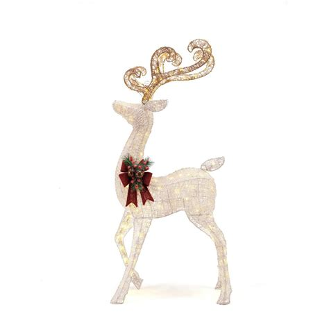 christmas decorations with deer head pic home accents 56 in led lighted white pvc standing deer ty412 1611 2 the home depot