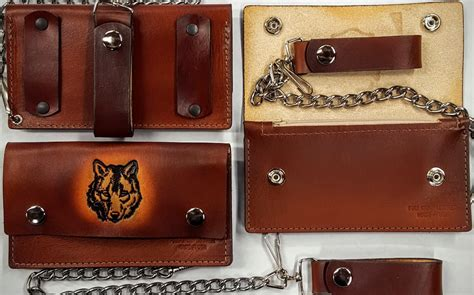 Handmade Leather Wallets Made In Usa - wolf leather wallet with chain handmade leather wallets