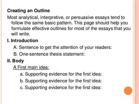 How Do You Write An Outline For An Essay by Creating An Outline