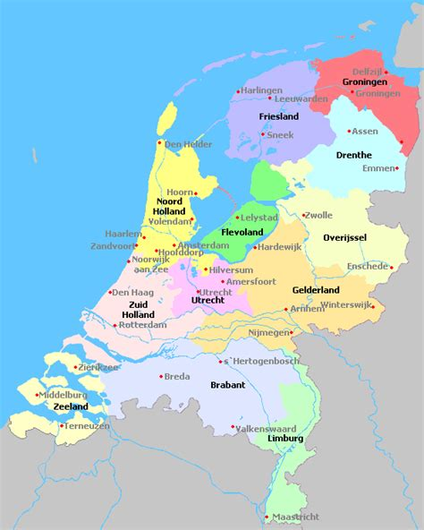 netherlands map facts niederlande regionen karte
