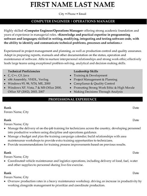 operations manager resume sle template