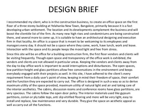 design brief in construction time problem