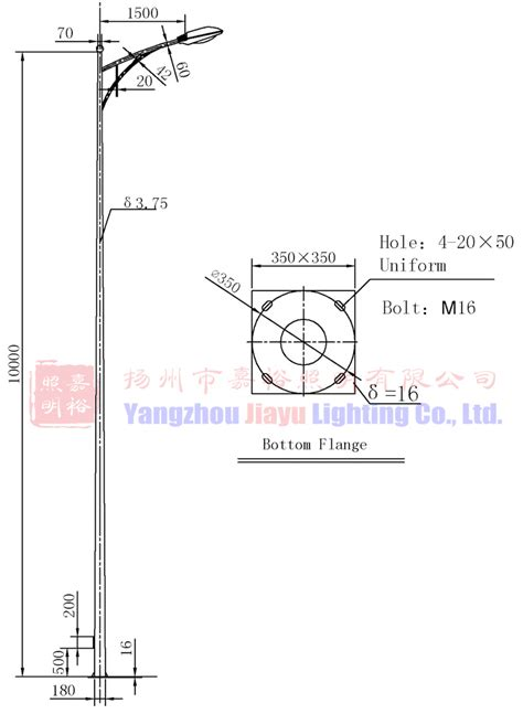 light pole dimensions q235 steel eco powder coating 10m height single arm
