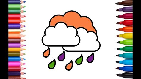 color and learn rain rainbow cloud and rain coloring book and drawing for kids