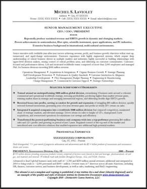 resume sle for a ceo