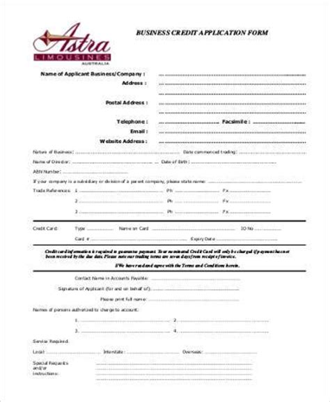 Blank Credit Application Form Pdf Business Credit Application Form Sles 8 Free Documents In Pdf
