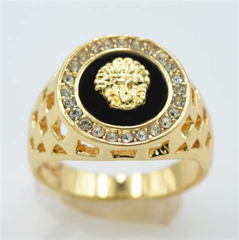 tripleclicks cz versace mens rings gold filled