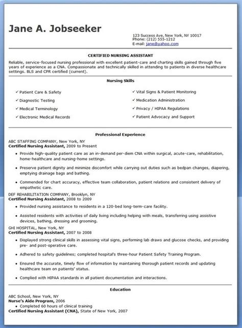 certified nursing assistant sle resume sle certified nursing assistant resume 28 images