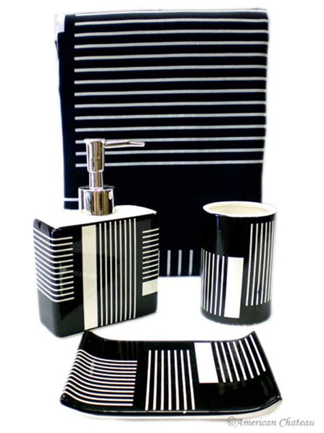 Black Bathroom Accessory Set Chic 4pc Bath Black White Bathroom Accessory Set Fabric Shower Curtain Ebay