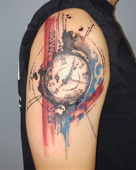 watercolor tattoo za watercolor clock by siobhan siobhan