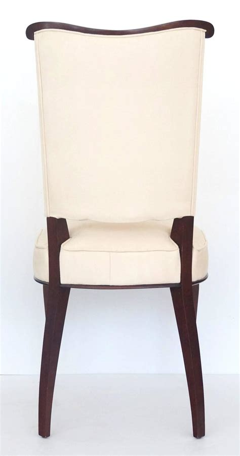 Suede Dining Room Chairs Set Of Six Jules Leleu Style Deco Dining Room Side Chairs In Ultra Suede For Sale At 1stdibs