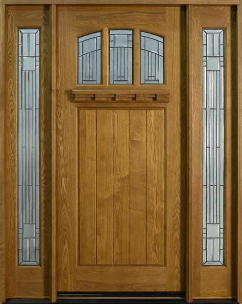 Exterior Hardwood Door Entry Door In Stock Single With 2 Sidelites Solid Wood With Light Ash Finish Craftsman