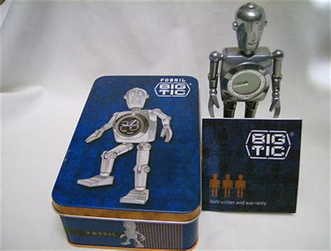 Fossil Include Tin Box fossil stan quot the big tic quot robot clock in original tin