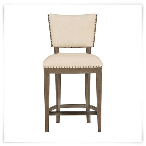 Scrollback With Nailhead Counter Stool Ave Six by Gray 24 Quot Upholstered Barstool Walnut Veneer