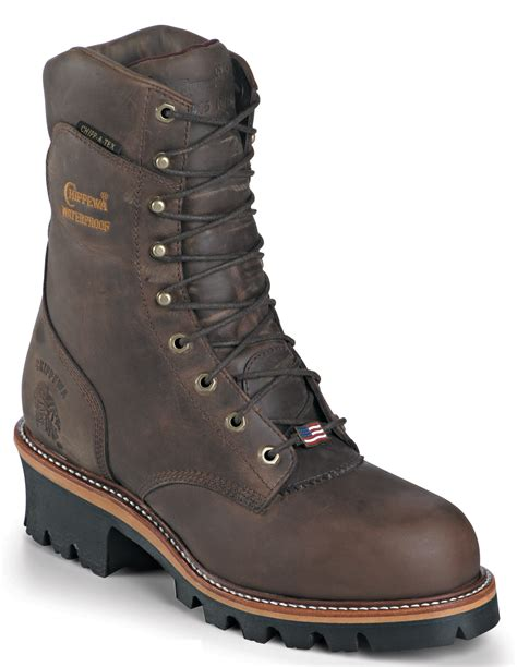 chippewa mens waterproof logger work boots made in