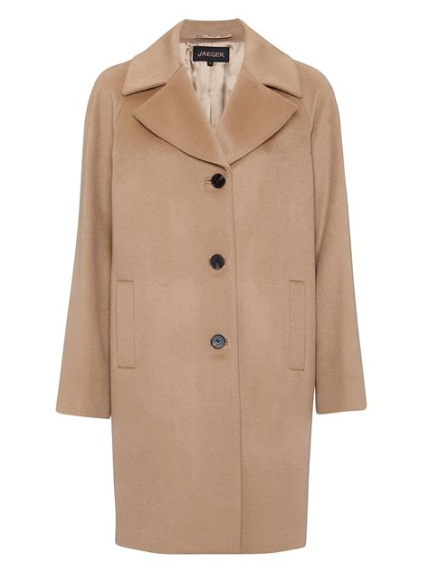 In Coat by Jaeger Three Button Wool Coat In Beige Camel Lyst