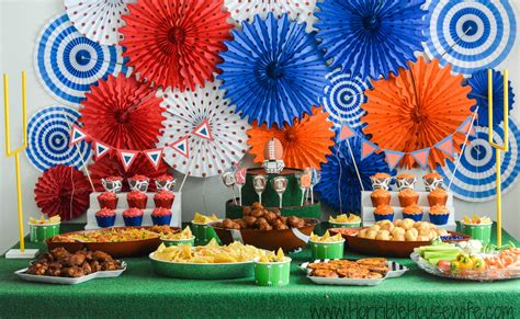 football party theme decorations and easy party food