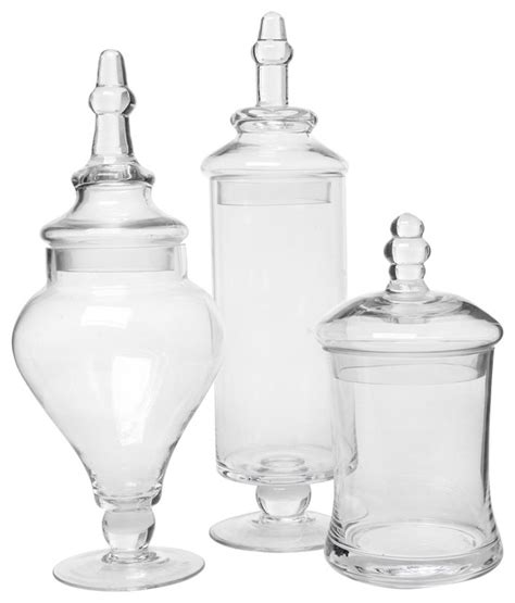 Bathroom Canisters Jars Glass Apothecary Jars Set Of 3 Traditional Bathroom
