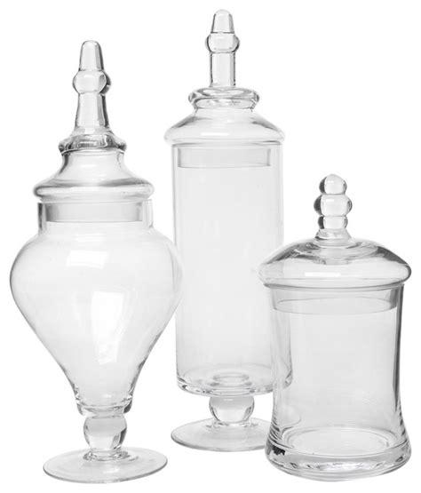 bathroom apothecary jar set clear glass apothecary jars 3 piece set traditional