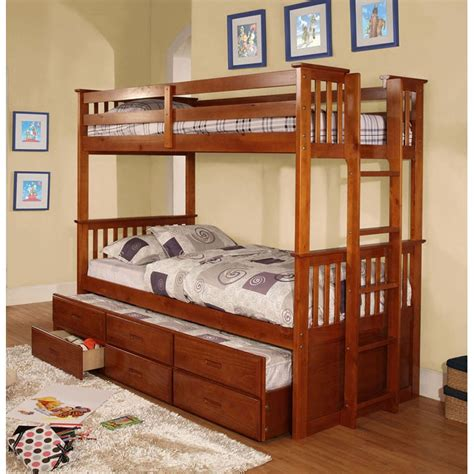 bunk bed with trundle and drawers twin over twin university oak bunk bed twin trundle