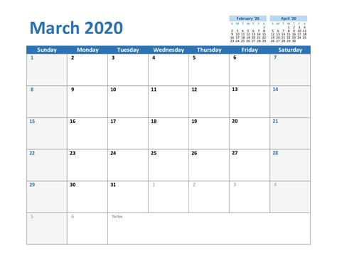 march  printable calendar template   excel word printable march calendar template