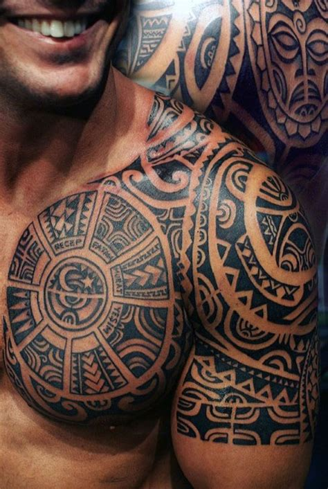 tribal chest and shoulder tattoos 50 tribal chest tattoos for masculine design ideas