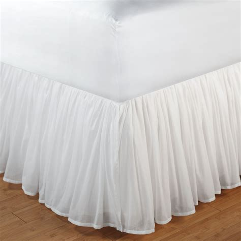full bed skirt cotton voile gathered bedskirt