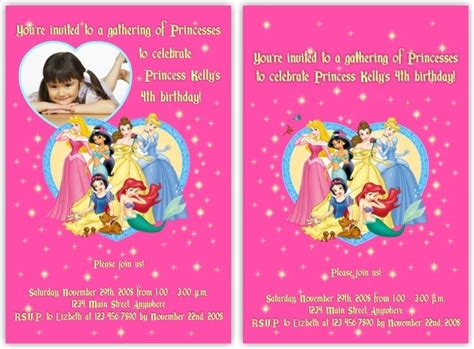 disney princess birthday card templates disney princess invitation card for birthday