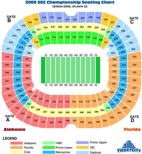 seating section georgia dome sec chionship seating chart