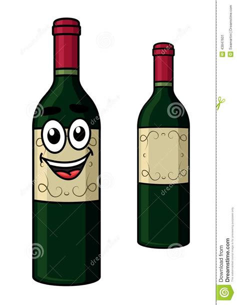 cartoon white wine cartoon wine bottle stock vector image 43847601