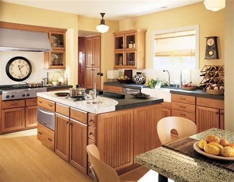 yellow and brown kitchen ideas flooring red oak natural w yellow walls and medium