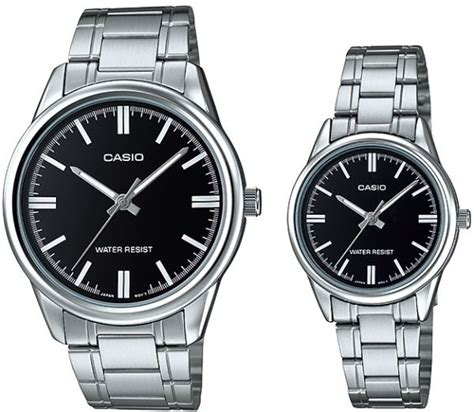 casio film watch malaysia casio his hers black dial stainless steel band couple