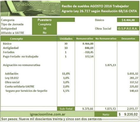 sueldo del peon rural mes septiembre 2016 trabajador agrario liquidaci 243 n agosto 2016