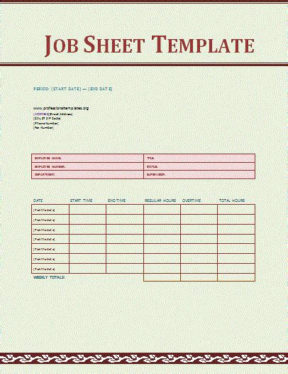sle job sheet template for excel formal word templates
