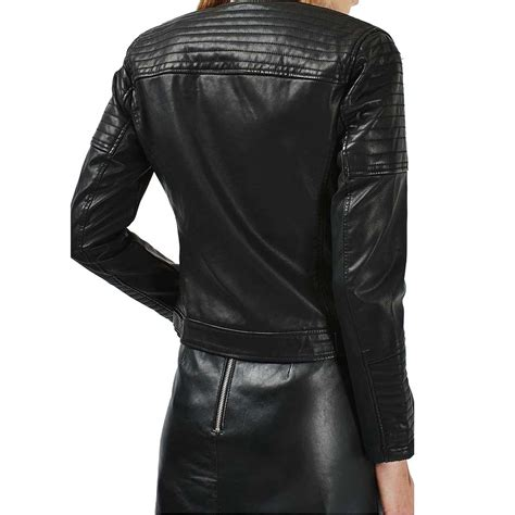 leather bike black motorcycle leather jacket for womens motorcycle