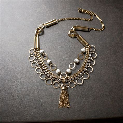 Rhinestone Multi Chain Necklace vintage gold multi chain statement necklace with