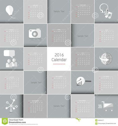 vector calendar template 2016 calendar stock vector image 60694217