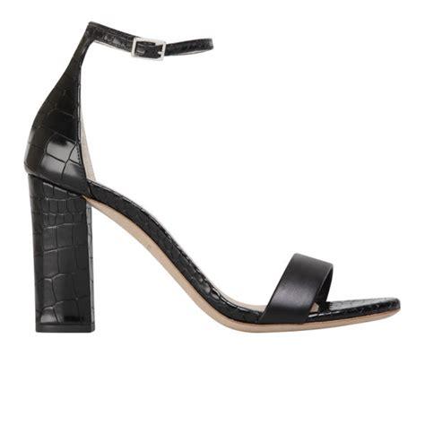 kurt geiger s leather croc print heeled sandals black free uk delivery allsole