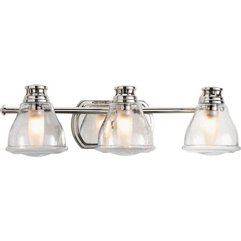 Glass Shades For Bathroom Light Fixtures Progress Lighting Academy Polished Chrome Three Light Bath Fixture With Clear Seeded Glass Shade