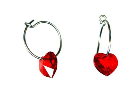 Self Piercing Sleeper Earrings by Titanium Sleeper Earrings With Ruby Hearts