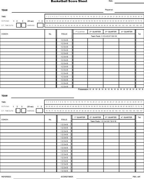 Basketball Score Sheet Template by Basketball Score Sheet Free Premium Templates