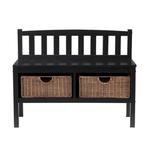 black storage bench with baskets amazon com sei black bench with two brown rattan baskets