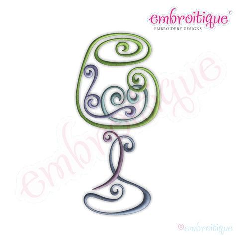 embroidery design wine glass embroitique curly wine glass 2 embroidery design