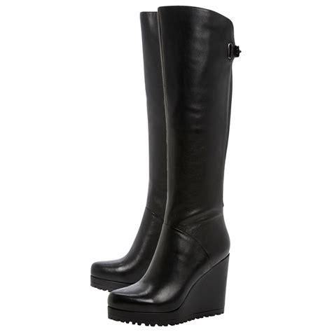 dune tanka knee high wedge boots in black lyst