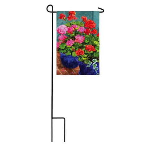 Garden Flag Stand Evergreen Enterprises 12 1 2 In X 18 In Geranium Summer