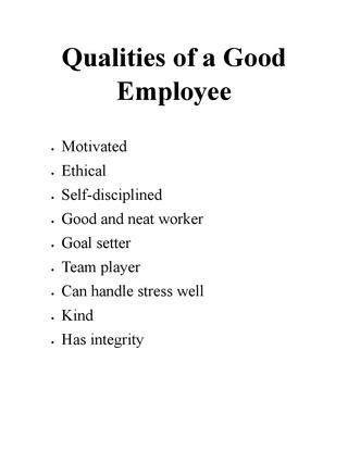 Qualities Of A Employee by Qualities Of A Employee By Johnmtay Issuu