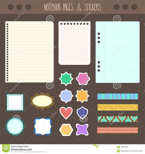 set of pages notebook with stickers colored tape staples